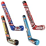 ArtCreativity Hockey Stick Inflates, Set of 4, Inflatable Hockey Party Decorations, Fun Assorted Designs, Sports Birthday Party Favors, Unique Pool Toys for Kids, Cool Boys' Room Decor