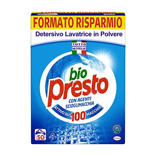 Bio Presto Classico Detersivo Lavatrice in Polvere, Miglior rimozione delle macchie, confezione maxi formato, 50 Misurini