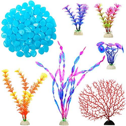 100 Pezzi Ghiaia Pietre Luminose Rocce Luminose per Acquario Ciottoli al Buio e 6 Pezzi Corallo Piante in Plastica Ornamento per Acquario Tartaruga e Ambiente Rettili