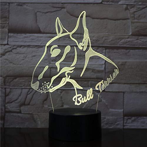 3D Bull Terrier Forma Simpatico animale progettato Pet Bug Dog Puppy 3D Illusione ottica Decorazioni per la casa Lampada da tavolo Luce notturna