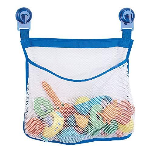 mDesign speelgoednet voor badkuip met zuignappen - Bad Organizer zonder boren voor het slimme opbergen van badaccessoires of badkuipspeelgoed, ook geschikt voor de douche - transparant