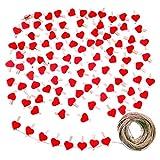 JZK 100 x Mollette legno piccole cuore rosse + 30m spago iuta, mini mollettine bucato decorative per foto clip portafoto da parete segnaposto bomboniere