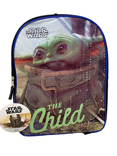 Fast Forward Star Wars The Child  Baby Yoda 15  Plain Front Backpack, Black, Large