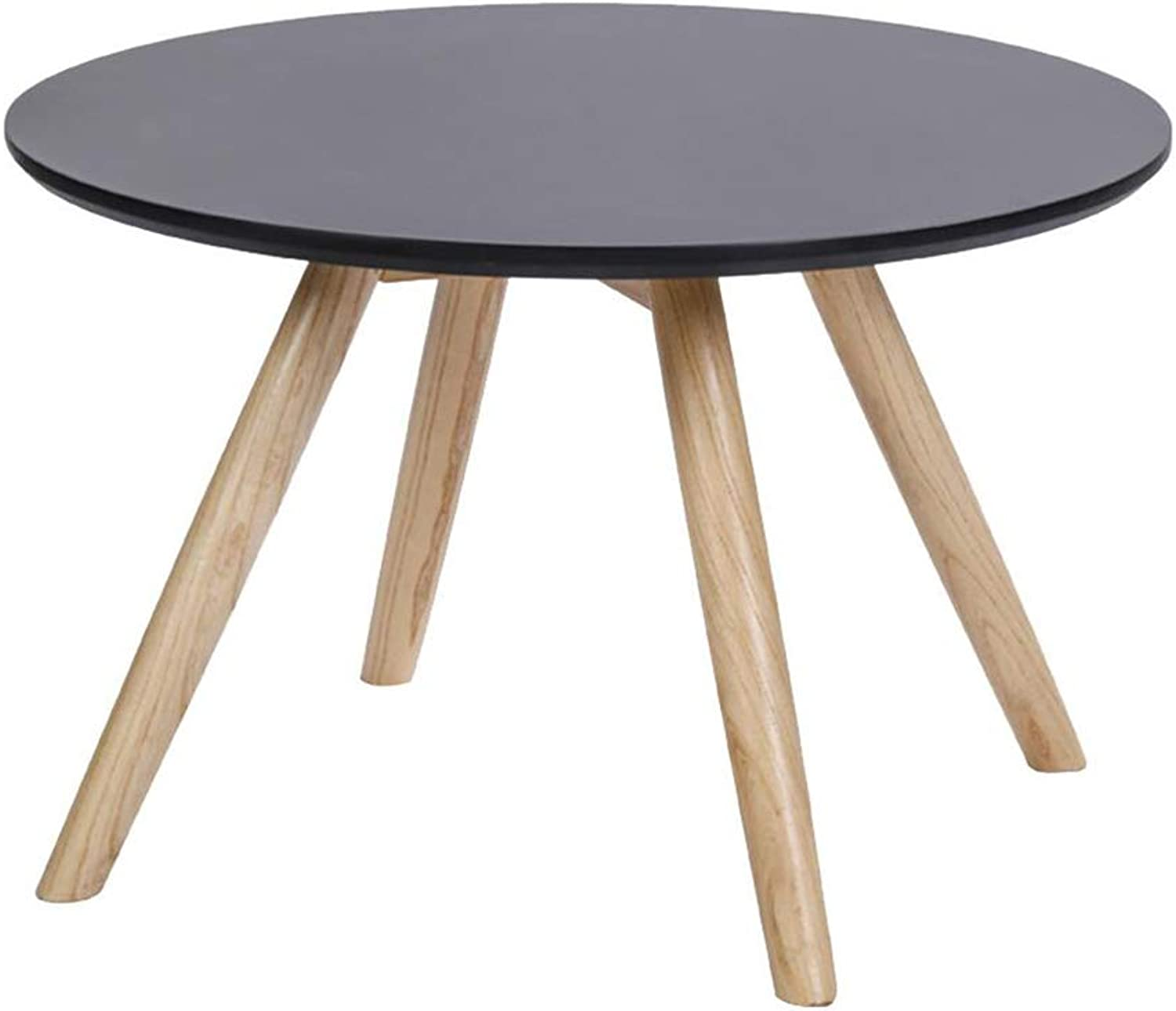 Sofa Side Table Solid Wood Balcony Round Coffee Table Corner Small Round Table Coffee Table Side,Black