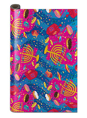 Hanukkah Wrapping Paper - Extra Wide Multicolored - 30 Inch x 144 Inch- Hanukkah Themed Gift Wrap