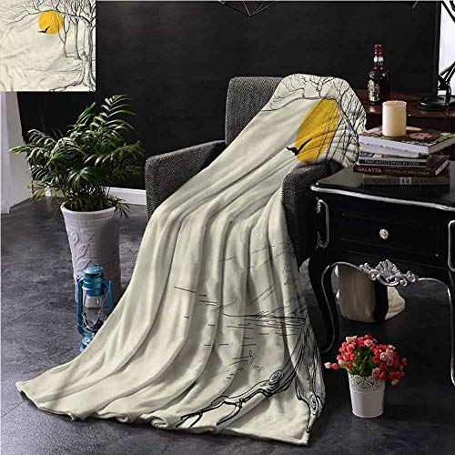 EDZEL Best Blankets Nature Full Moon with Branches for Bed Couch Chair 72x54 Inch