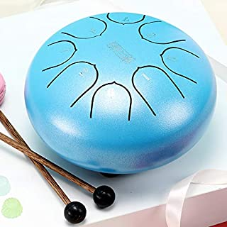 Martinimble Alloy Steel Tongue Drum 6Inch 8 Tones with 1Pair Mallets + Storage Drum Bag(Size:6 inches (16x16x9.5cm / 6.29''x6.29''x3.74'')