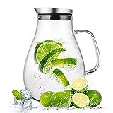 susteas 2 Liter 70 Unzen Glas Karaffe Krug mit Deckel und Auslauf, Wasserkaraffe, Eistee Krug, Saft...