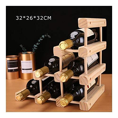GMING - Weinregal Flaschenregal Wein Vitrine Massivholz Wein Vitrine Startseite Weinflasche Rack-Kreative Einfach Und Schön (Color : Wood Color)