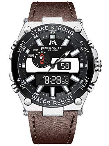 Herren Uhren MEGALITH Männer Digitaler Sports wasserdichte Analoge Armbanduhr Braun Militär LED Großes Digitaler Stoppuhr Designer Alarm Kalender Uhren für Herren