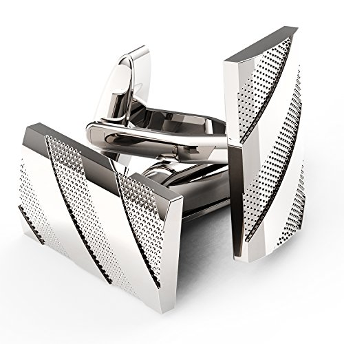 UHIBROS Mens Cuff Links Polished Finish Stainless Steel Luxury French Tuxedo Shirt Cufflinks for Men