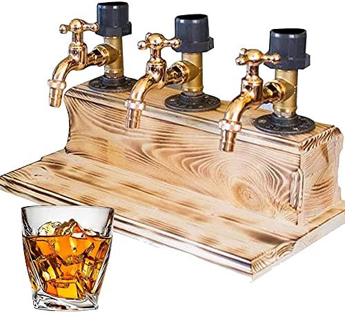 aedouqhr Dispensador de Madera de Whisky, dispensador de Licor de Botella de 1/2/3, estación dispensadora de Alcohol Profesional con Grifo, Soporte para dispensador de Cerveza, Bebida, Vino y cóctel