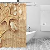 jstel Muscheln Duschvorhang Schimmelresistent & Polyester-Wasserdicht-182,9x 182,9cm für Home Extra Lang Badezimmer Deko Dusche Bad Gardinen Liner mit 12Haken