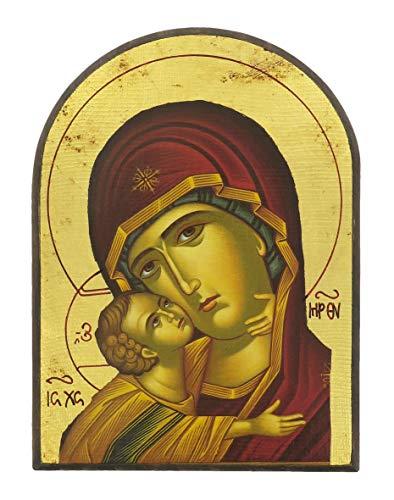 Ferrari & Arrighetti Icona Madonna della Tenerezza, Vergine di Vladimir, Produzione Greca su Legno a Forma di Arco - 18,5 x 14 cm