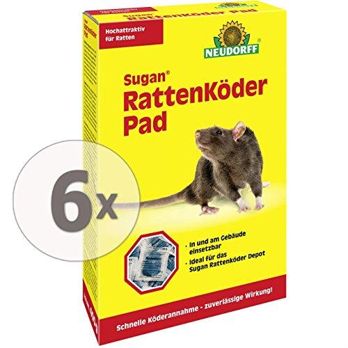 Gardopia Sparpaket: 6 x 400g Neudorff Sugan Rattenköder Pads, hochattraktiver Spezialköder gegen Ratten Plus Zeckenzange mit Lupe