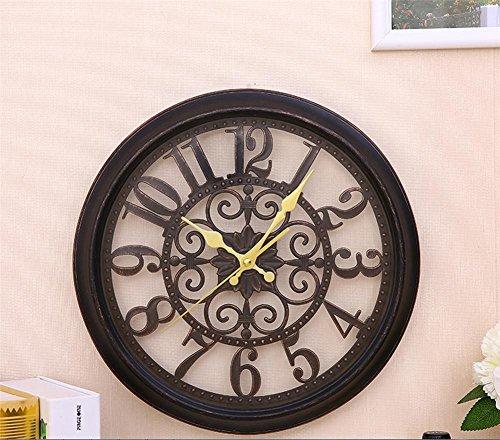H&M Relojes de pared Reloj de Pared de Pared Moderna Europea Reloj Tranquilo Reloj de Pared Retro Moda de Moda Simple Sala de Estar Cocina Restaurante Dormitorio Reloj, Black