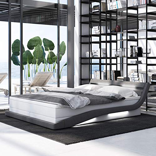 INNOCENT® - Hameni LED | 180x200cm H3 | Designer Boxspringbett in Weiss PU/Stoff Grau | Hotelbett Designerbett in Härtegrad H33