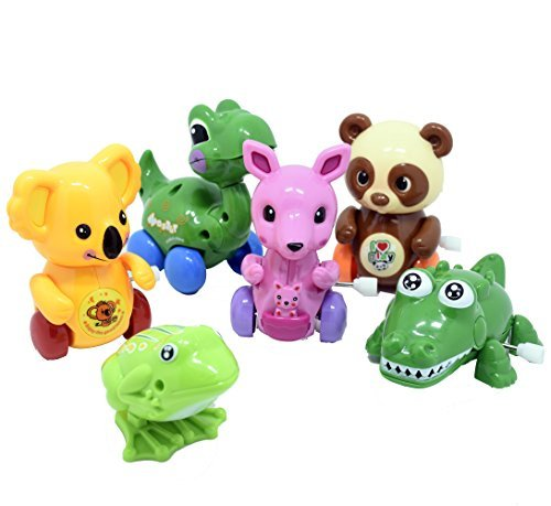 TOOTO 6 pcs Clockwork Spring Cartoon Cute Gliding Cochain Animals Toy Assorted Wind-up Toys for Infants Toddlers Kids Party Favors