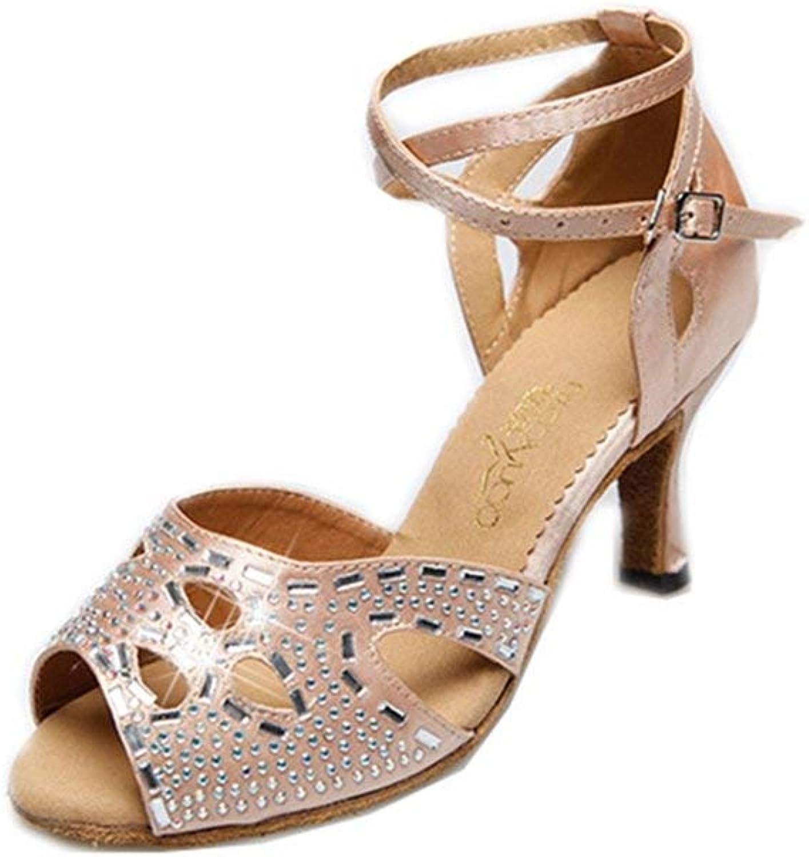 Beautiful - Fashion Women's Rhinestone Satin Latin Salsa Tango Heel Dance Sandals Morden Ballroom Party Dancing shoes