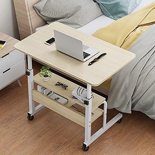 Mesa de noche de madera con 2 capas para ordenador portátil, mesa de noche, altura ajustable, para oficina, estudio, escritorio (tamaño: 40 x 80 cm, color: roble (marco blanco)
