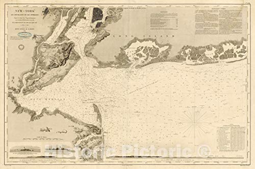 Historic Map - New-York ses Mouillages et Atterages d'apres la Carte/Chart of New York Harbor, Manhattan, New York Harbor, Raritan Bay, Oyster Bay, 1854 - Vintage Wall Art 62in x 44in