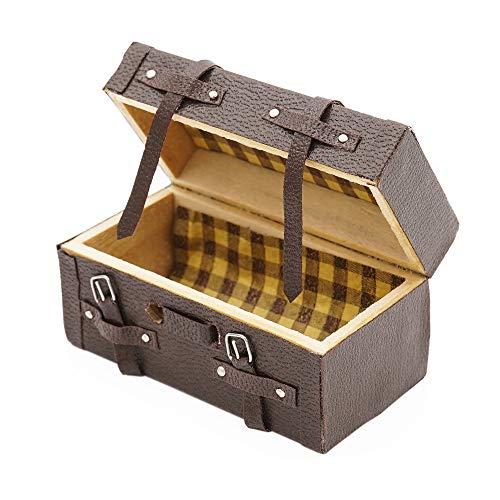 Odoria 1:12 Miniatura Vintage Maleta Cofre con Cinturón de Cuero Decoración de Casa de Muñecas Accesorios