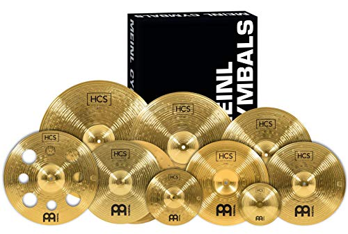 """Meinl Cymbals Ultimate Cymbal Set Box Pack with FREE 16"""" Trash Crash – Traditional Brass Finish – Made In Germany, 2 YEAR WARRANTY (HCS-SCS1)"""