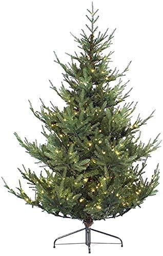 WEIGE Albero di Natale Artificiale Artificiale Albero di Natale in Fibra Ottica con Cerniera in Abete Rosso Premium con 130 luci LED 8 modalità Flash Alberi di Natale