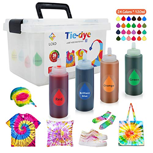 Liouhoum Tie Dye Kit for Adults - 24 Colors Permanent 4.3 fl.oz. Large Capacity One-Step DIY Dyeing Safe Fabric Dyes for Party Creative Group and Indoor/Outdoor Activities