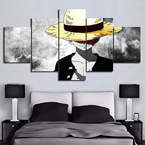 Gtart Mehrteilige Wandbilder Groß Bild Leinwand Bilder Wohnzimmer Modern Wandbilder Kunstdrucke Leinwandbilder XXL 5 Teilig Wandbild Schlafzimmer Anime Poster One Piece Monkey Ruffy Poster Poster