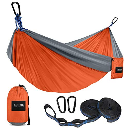 Kootek Camping Hammock Double & Single Portable Hammocks with 2 Tree Straps, Lightweight Nylon Parachute Hammocks for Backpacking,...
