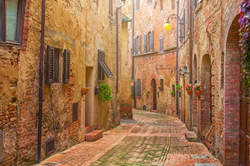 Narrow Street in Old Italian Town Tuscany Italy Photo Art Print Poster 18x12