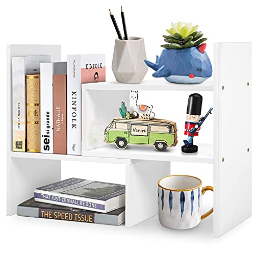 DSKYLODY Estantería de escritorio simple para organizar estantes de almacenamiento en el escritorio, oficina, pequeñas y sencillas, con múltiples métodos de ajuste (color: blanco)