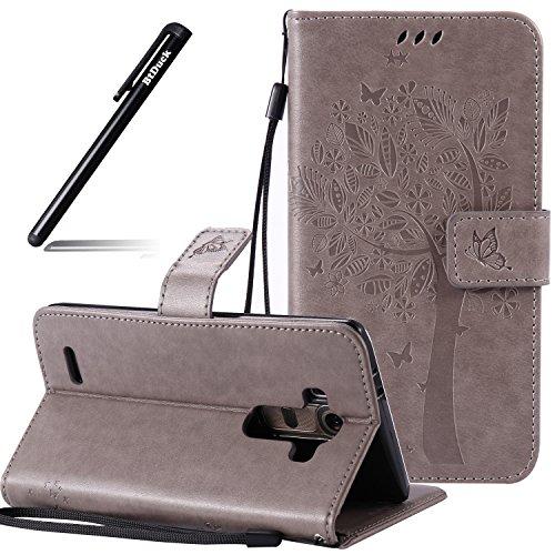BtDuck LG G4 Hülle Grau, Original PU Leder Stand Tasche Katze Muster Schutzhülle mit Standfunktion Kredit Kartenfächer Magnetverschluss Damen Flip Cover Handyhülle LG G4