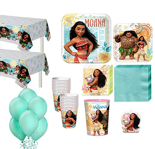 Party City Moana Tableware Party Kit and Supplies for 16 Guests, Includes Table Covers, Table Centerpieces, Banner