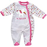 Baby Sweets Baby Strampler für Mädchen/Baby-Overall in Rosa Grau als Schlafanzug und Babystrampler im Einhorn-Design/Baby-Schlafanzug für Neugeborene und Kleinkinder in der Größe: Newborn (56)
