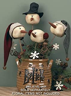 Honey and Me Christmas Primitive Country Whimsy Rolly Polly Snowman Wand Set