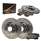 Saab 9-4X Performance Brake Kits - Max Brakes Front & Rear Performance Brake Kit [ Premium Cross Drilled Rotors + Ceramic Pads ] KT155823 | Fits: 2010 10 2011 11 2012 12 2013 13 Cadillac SRX