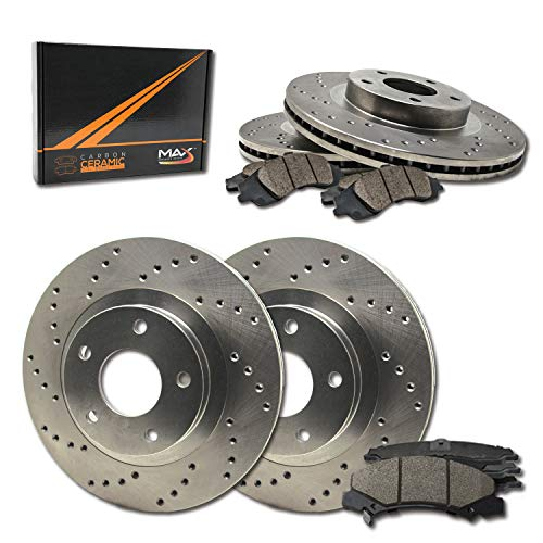 Max Brakes Front & Rear Performance Brake Kit [ Premium Cross Drill Rotors + Ceramic Pads ] KT078223 Fits:07-13 Avalanche Tahoe Silverado & Suburban 1500|GMC Yukon & Sierra 1500|Cadillac Escallade
