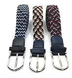 Desconocido Set de 3 Cinturones Hombre y Mujer de Colores Elásticos Trenzados. Cinturón Ancho de Talla Única que se Adapta a cada Cintura, para Hombre y Mujer Vestir y Casual (Colores 3, 110)