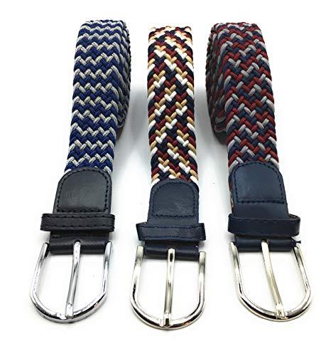 Desconocido Pack » 3 Cinturones Hombre y Mujer de Colores Elásticos Trenzados. Talla única que se adapta a cada cintura, para hombre y mujer