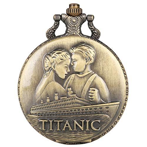 Bronze-große Quarz-Taschenuhr für Herren, kreatives Titanik-Muster, Taschenuhren für Frauen, langlebige Legierung, Kette für Frauen