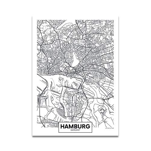 JYWDZSH Leinwanddruck Schwarz Weiß Wort Poster Stadtplan Hamburg Nordic Print Leinwand Malerei Wandbild für Wohnkultur, 60X80cm ohne Rahmen