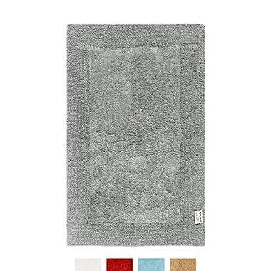 QltyFrst Bath Mat Reversible 100% Premium Cotton 1900 GSM Size 21 x34  Bathroom Rugs Luxurious Bathroom Mat Extra Plush Absorbent Grey