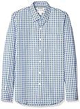 Marca Amazon - Goodthreads - Camisa cómoda de popelín elástico con manga larga, corte entallado, y de cuidado fácil, para hombre, Denim Blue Check, US M (EU M)