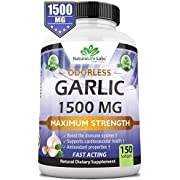 Odorless Pure Garlic 1,500 mg per Soft Gel Maximum Strength 150 Soft gels Promotes Healthy Cholesterol Levels Immune System Support