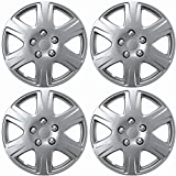 OxGord 15 inch Snap On Hubcaps Compatible with Toyota Corolla 2005-2008 - Set of 4 Rim Covers Rim for 15 inch Wheels - Silver
