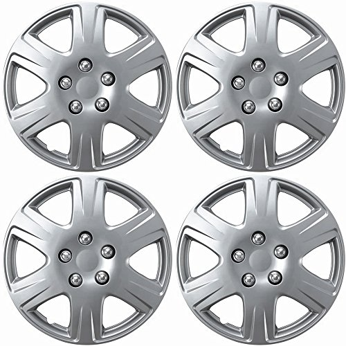 OxGord Hubcaps 15 inch Wheel Covers - (Set of 4) Hub Caps for 15in Wheels Rim Cover - Car Accessories Silver Hubcap Best for 15inch Standard Steel Rims - Snap On Auto Tire Replacement Exterior Cap