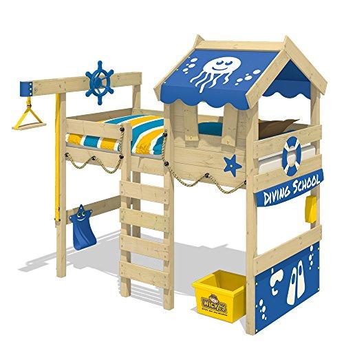 WICKEY Letto a soppalco CrAzY Jelly Letto per bambino con tetto Letto da gioco 90x200 per bambini con rete a doghe e gru, blu