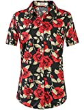 SSLR - Camisas hawaianas de algodón con botones y mangas cortas - - X-Large